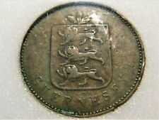 1830 GUERNEY 4 DOUBLES in Very FINE!  Nice old BRONZE COIN