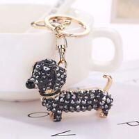 Crystal Dog Dachshund Keychain Pom Bag Pendant Key Chain Ring Holder Keyring