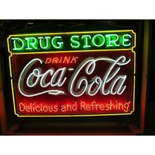"Coca Cola Drug Store Delicous Refreshing Neon Light Sign 32""x24"" Open Glass"