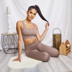 Seamless Ribbed Yoga Set Bra High Waisted Leggings Fitness Gym Woman Pant Crop