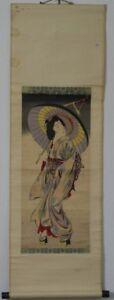 Japanese Hanging Scroll Wood Brock Print Ukiyoe Woman Edo era