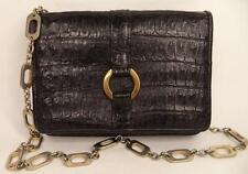 VINTAGE BLACK CROCODILE SKIN SHOULDER BAG HANDBAG CHAIN STRAP