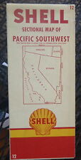 1955 Pacific Southwest road  map Shell  oil gas California Nevada #12 route 66