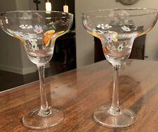 Two Murano-Style Clear Glass MILLEFIORI MARGARITA GLASSES