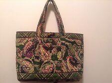 Vera Bradley Green Paisly Print Cotton Hand Bag Arm Bag Purse 10 inches Tall
