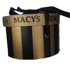 Rare Vintage Macy's New York Collectible 8� gold Mock Hat Box With Black Ribbon