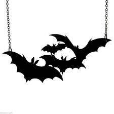 Large Jewelry Necklace Black Bat Pendant Halloween Vampire