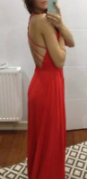 Fame and Partners Red Cross Back Fishtail Maxi Cocktail Wedding Party Dress 6 34
