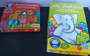 """ORCHARD TOYS GAMES X 2 """"ANIMAL FAMILIES"""" & JELLY ELEPHANTS"""