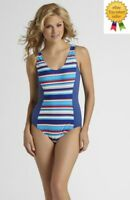 Tropical Escape Womens Swimsuit One Piece Striped size 12 14 NEW