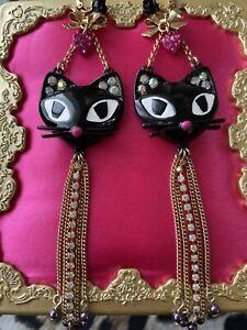Betsey Johnson Vintage Vampire Slayer Black Cat Head Rose Pearl Heart Earrings