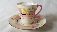 ADDERLEY WARE, ART DECO PERIOD FLORAL HAND PAINTED CUP AND SAUCER
