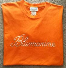 BLUMARINE Rhinestones LOGO Orange WOMEN'S T-SHIRT TOP 100% Cotton ITALY  L VGUC