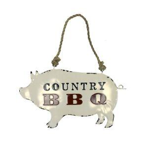 Vintage Metal Country BBQ Pig Wall Sign Rustic Restaurant Bar Pub Man Cave Decor
