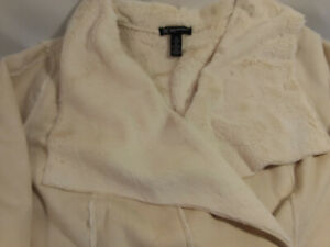Womens Plus Size INC International Concepts Faux Suede Cream 3/4 Coat Jacket 2X