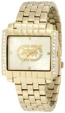 NEW-MARC ECKO POLISHED GOLD TONE+RECTANGLE DIAL+CRYSTALS WATCH E8M046MV+TAG