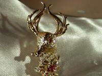Festive Vintage 1960's Gold Tone Rhinestone Reindeer Brooch  21F9