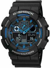 Casio G-SHOCK GA100-1A2 Standard Analog-Digital Black & Blue 200m Men's Watch