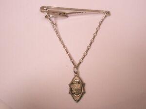 -R Monogram Initials Crown & Shield Coat of Arms Vintage Pendant Tie Bar Clip
