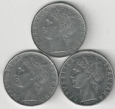 3 DIFFERENT 100 LIRE COINS from ITALY (1965, 1966 & 1967)