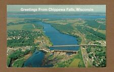 Chippewa Falls,WISCONSIN WI Aerial view of city and river, bridge and dam