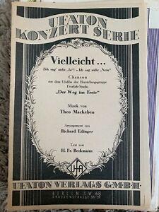 Noten Salonorchester Vielleicht ... v. Theo Mackeben Arr. R. Etlinger, 1941 Ufat