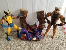 Marvel Legends 2 Figure Lot Wolverine Sabertooth Base Toybiz