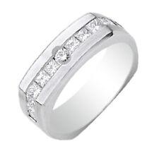 1.36 Carat Princess & Round Cut Men's Diamond Ring 18k White Gold