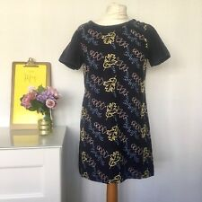 WHITE STUFF NAVY EMBROIDERED TUNIC TOP  Size 10 COTTON FLORAL LEAF B5