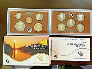 Beautiful 2018 US Proof Set With Box & COA TEN COINS No milk spots NICE CENT !!