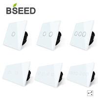 BSEED LED Lichtschalter Touch Wechselschalter Double Wandschalter Glas Panel 16A