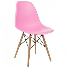 Eames Style DSW Molded Pink Plastic Shell Chair with Wood Eiffel Legs
