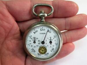 Vintage French POCKET WATCH PEDOMETER by Henri Chatlain c1920's!