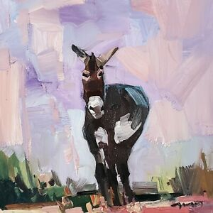 JOSE TRUJILLO Oil Painting IMPRESSIONISM DONKEY CONTEMPORARY COLLECTIBLE ART