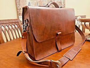 Burnished Saddle Leather Briefcase / Messenger bag - WHITE BUFFALO REPUBLIC
