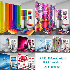 4Pcs/Set Bathroom Non-Slip Pedestal Rug&Lid Toilet Cover Bath Mat+Shower