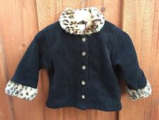 BABY GAP S/M 3-12 mos. Black Cheetah Collar Cuffs Lined Button Down Adorable