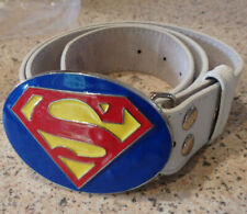 The Buckle Shop white hide belt with enamel superman buckle size 30-32in