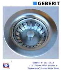 "GEBERIT #152.675.GJ.3 Kitchen Basket Strainer in Brushed Nickel Finish 31/2"" USA"