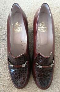 Vintage Bruno Magli Brown Leather Mid Heel Court Shoes EUR Size 38 UK Size 5