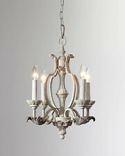 """19"""" Horchow Neiman French Restoration Antique White Florence Chandelier $379"""