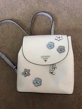 "GUESS ""WORTHY"" Blue White Leather Backpack purse mini backpack floral guess"