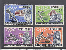 RWANDA-1968-MEXICO OLYMPICS X 4-SHORT SET-MINT HINGE GUM REMNANTS-$4 freepost