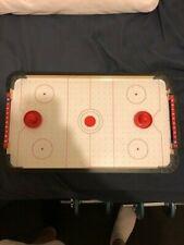 Wooden Tabletop Air Hockey Battery Powered Fan Score Bars 2 Pucks 50cm x 30cm