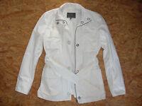 Damen Jacke lang, mit Gürtel, weiß, Mexx, Größe 36