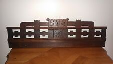 "Antique Wood Salvage Ornate 19th C Eastlake Pediment Header, 24"" Carved Walnut"
