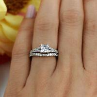 2.50Ct Princess Cut Diamond 14k White Gold Fn Bridal Set Engagement Wedding Ring