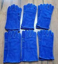 New Listinglot Of 6 Premium Side Split Leather Reinforced Palm Thumb Guard Welder Glove M