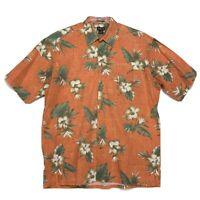 St. Johns Bay Floral Hawaiian Island Style Mens L Orange Short Sleeve Button Up