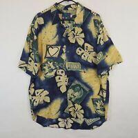 Vtg Jams World Rayon Hawaiian Hawaii Aloha Paradise Flowers Blue Shirt Sz L XL